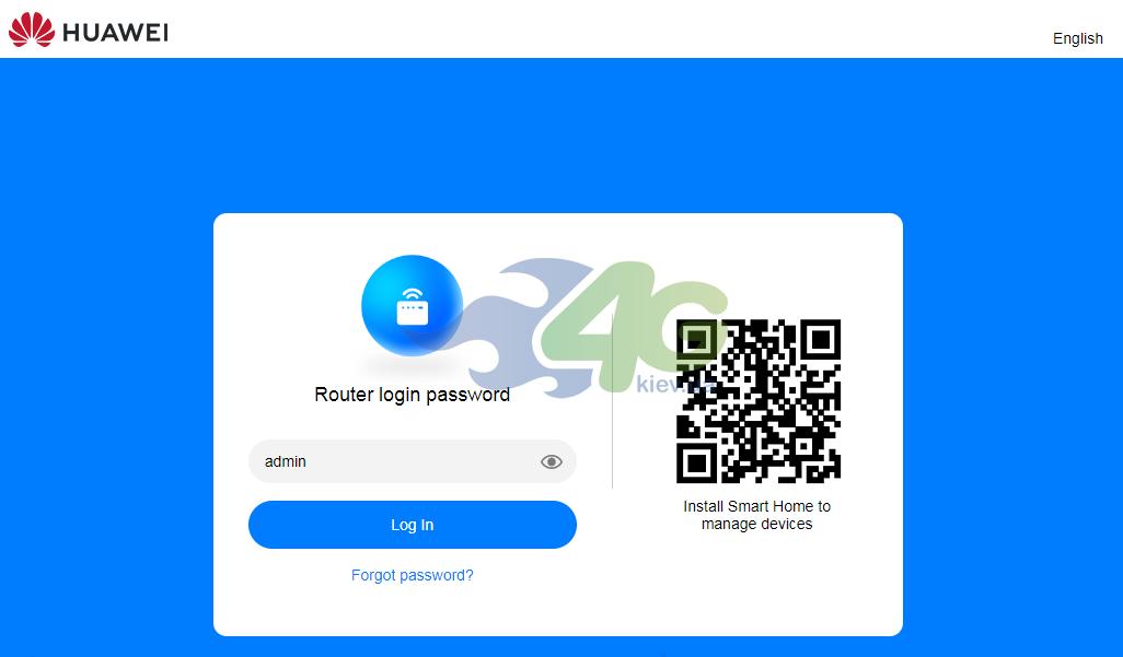 Страница входа в веб-интерфейс настроек Huawei B535