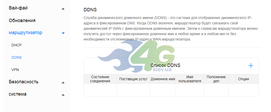 Настройка параметров DDNS Huawei B535